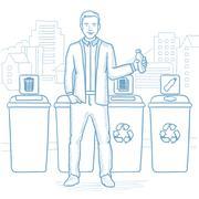 Man throwing away plastic bottle Stock Illustration