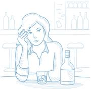 Woman drinking alcoholic drink at the bar Stock Illustration