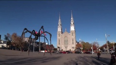 Notre Dame Basilica and Spider statue Stock Footage