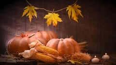 Pumpkin. Happy Thanksgiving Day wooden background decorated with pumpkins. Stock Footage