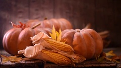 Pumpkin, squash. Happy Thanksgiving Day wooden table background Stock Footage