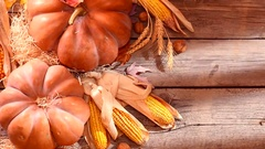 Pumpkin. Happy Thanksgiving Day. Pumpkins over wooden background. Stock Footage
