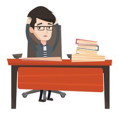 Stressful employee sitting at workplace Stock Illustration