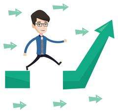 Businessman jumping over gap on arrow going up Stock Illustration