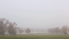 Sunrise in thick fog in Denver City Park. Stock Footage