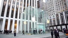 Apple Store Fifth Avenue New York Stock Footage