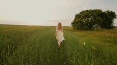 Beautiful Woman Running Wind Blowing Hair Slow Motion Stock Footage