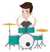 Man playing on drum kit vector illustration Stock Illustration