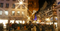 Majestic Christmas Market view in Strasbourg, France Stock Footage