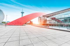Modern business building in nanjing from brick floor with sunbeam Stock Photos