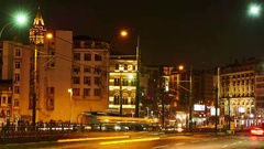 Traffic on the Galata bridge at night Stock Footage