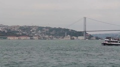 Bosphorus Bridge sea trip Stock Footage