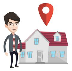 Realtor on background of house with map pointer Stock Illustration
