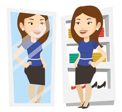 Woman trying on clothes in dressing room Stock Illustration