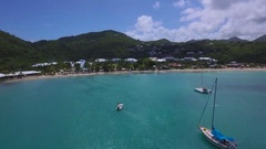 4K Aerial lift reveal shot at Anse Marcel, St Maarten, Okt 2016 Stock Footage