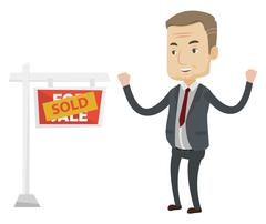 Agent standing near sold real estate sign Stock Illustration
