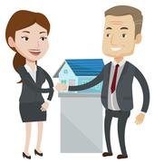 Agreement between real estate agent and buyer Stock Illustration