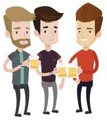 Group of friends enjoying beer at pub Stock Illustration