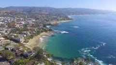 Flying North along Laguna Beach, California Stock Footage