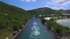 4K aerial flying over jet skis at Anse Marcel, St Maarten, Okt 2016 Stock Footage
