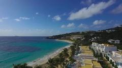 4K aerial fy over beach shot at Dawn beach, St Maarten, Okt 2016 Stock Footage