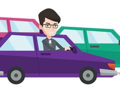 Angry caucasian man in car stuck in traffic jam Stock Illustration