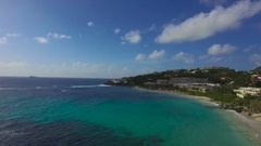 4K hovering aerial at Dawn beach, St Maarten, Okt 2016 Stock Footage