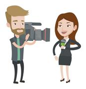 TV reporter and operator vector illustration Stock Illustration