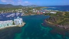 4K aerial enetering Oysterpond, St Maarten, Okt 2016 Stock Footage