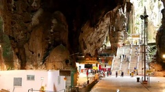 View of the entry of the Batu caves in Malaysia Stock Footage