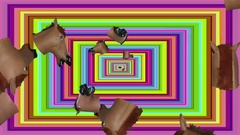 Rectangular Small Horse Heads Tunnel Small Heads Stock Footage