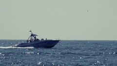 Luxury motor boat fast ride Stock Footage