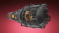 Rotate jet engine turbine of plane, aircraft concept, aviation and aerospace Stock Footage
