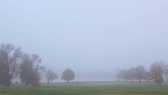 Time Lapse. Sunrise in thick fog in Denver City Park. Stock Footage