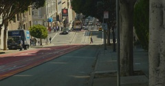 Cable car in California Street  Stock Footage