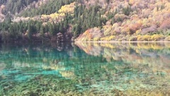 Beautiful five flower pond  at Jiuzhaigou National Park  lake,  The UNESCO World Stock Footage