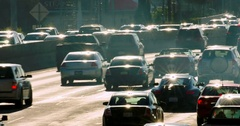 Traffic jam congestion during rush hour on California Freeway in Los Angeles, 4K Stock Footage