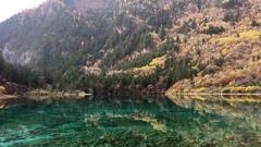 Beautiful five flower pond  at Jiuzhaigou National Park  lake,  The UNESCO Wo Stock Footage