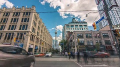 Toronto CN Tower Queen West John Street Blue Sky Clouds Timelapse Stock Footage