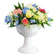 Colorful flower bouquet arrangement centerpiece in vase isolated on white bac Stock Photos