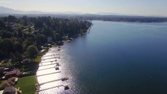 Helicopter Birdseye View of Beautiful Lake Stevens in The Pacific Northwest Stock Footage