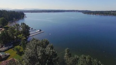 Drone Shot Flying Over Lake Stevens Washington on Sunny Summer Day Stock Footage