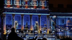Saint-Petersburg, November 5, 2016, 3D-mapping light show on St. Isaac's Square Stock Footage