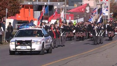 Canadian soldiers and war veterans parade on remembrance day Stock Footage