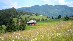 Wooden house in the mountains of the day Stock Footage