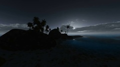 Loop rotate camera at tropical beach at night with moon and clouds Stock Footage