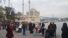 Istanbul ortaköy Bosphorus Bridge walking Stock Footage