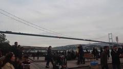 Istanbul city Bosphorus Bridge people walking Stock Footage