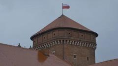 Poland Flag on Tower Stock Footage