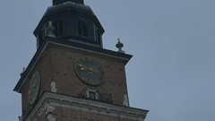 Krakow Medieval Tower Clock Stock Footage